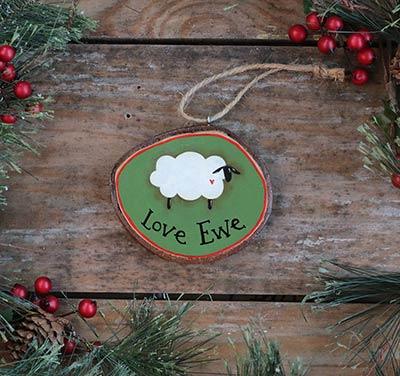 Love Ewe Sheep Wood Slice Ornament (Personalized)