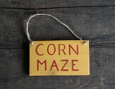 Corn Maze Wooden Sign