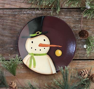 Snowman with Ornament Primitive Wood Plate