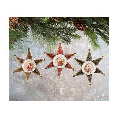 Bottle Brush Star Ornaments (Set of 3)
