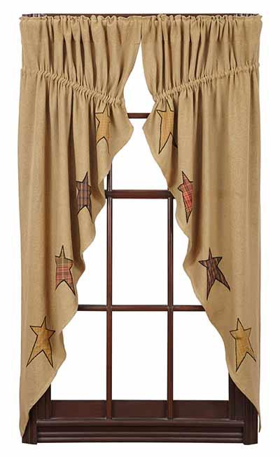 Stratton Burlap Applique Star Prairie Curtain