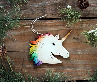 Unicorn Ornament - Rainbow (Personalized)