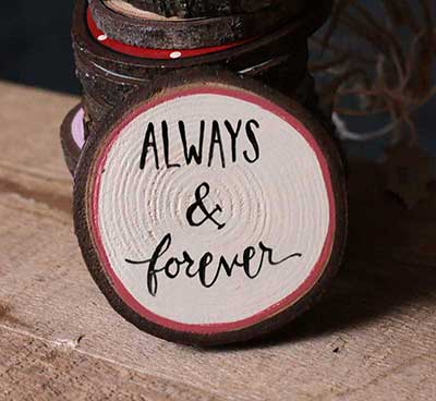 Always & Forever Wood Slice Ornament (Free personalization!)