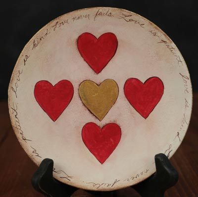 Love Never Fails Hand Painted Decorative Plate
