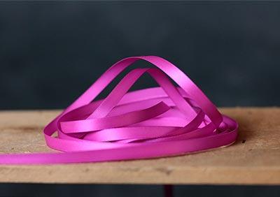 Fuschia Pink Single Faced Poly Satin Ribbon, 1/4 inch