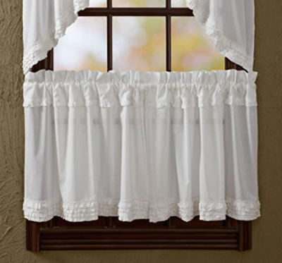 White Ruffled Sheer Cafe Curtains - 24 inch Tiers