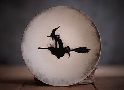 White Distressed Mini Plate with Witch