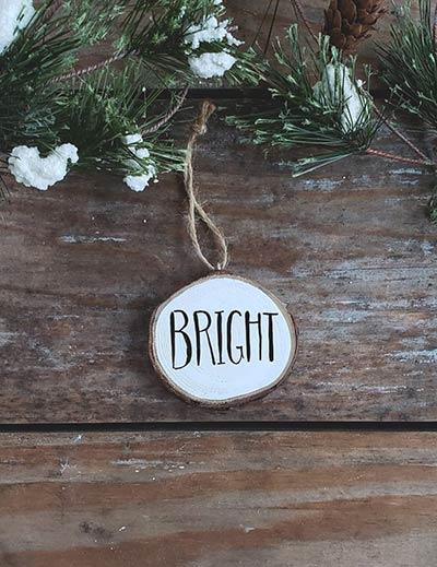 Bright Wood Slice Ornament