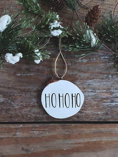 Ho Ho Ho Wood Slice Ornament (Personalized)