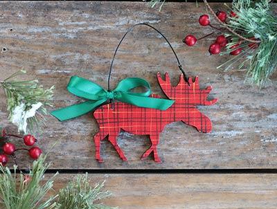 Tartan Plaid Moose Ornament (Personalized)