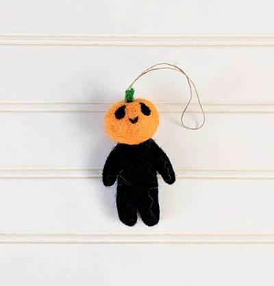 Mr. Pumpkin Head Wool Felt Ornament