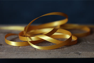 Yellow Double Faced Poly Satin Ribbon, 1/4 inch