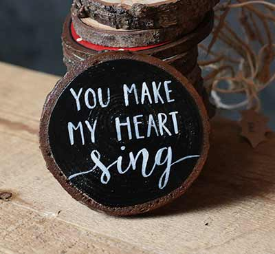 You Make My Heart Sing Wood Slice Ornament (Personalized)