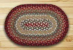 Thistle Green & Country Red Braided Tablemat (10 x 15 inch)