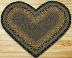 Brown, Black, and Charcoal Heart Jute Rug