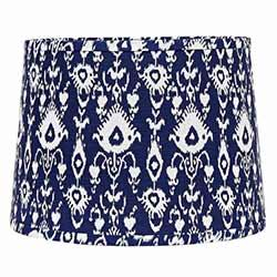 Ikat Drum Lamp Shade - 10 inch (Cobalt Blue & White)