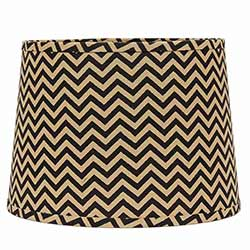 Black and Natural Chevron Drum Lamp Shade - 10 inch