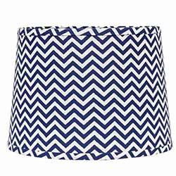Chevron Drum Lamp Shade - 14 inch (Cobalt Blue & White)