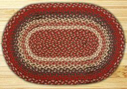 Burgundy Oval Jute Rug - 20 x 30 inch