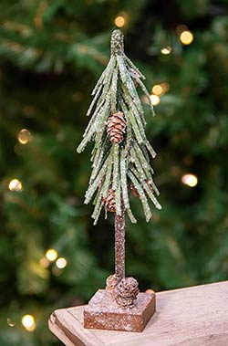 Glittered Pine Tree with Cones - 10 inch