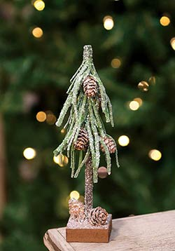 Glittered Pine Tree with Cones - 8 inch