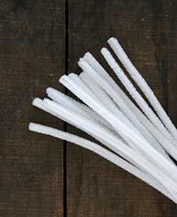 White Chenille Stems, 9 mm (15 pack)