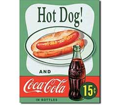Hot Dog Coca Cola Tin Sign