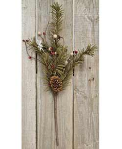 Primitive Pine Pick with Snowflake & Berries
