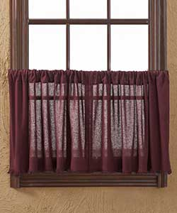 Tobacco Cloth Merlot Cafe Curtains - 24 inch Tiers