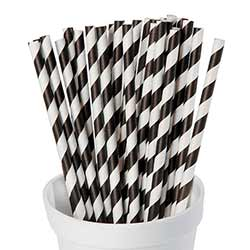 Black and White Striped Paper Straws (Set of 25)