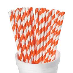 Orange and White Striped Paper Straws (Set of 25)