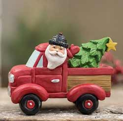 Red Vintage Pick Up Truck with Santa