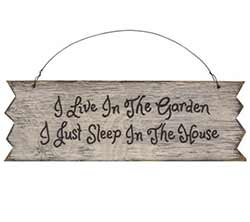 Live in the Garden Primitive Wood Sign