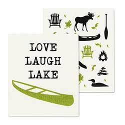 Lake & Canoe Swedish Dish Cloths (Set of 2)