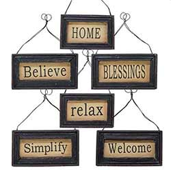 Black Framed Sign Ornaments (Set of 6)