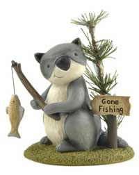 Gone Fishing Raccoon with Fish