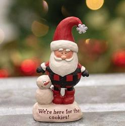 We're Here For the Cookies Resin Santa with Snowman