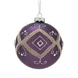 Purple Glittered Ball Ornaments (Set of 6)