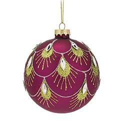 Pink Peacock Ball Ornaments (Set of 6)