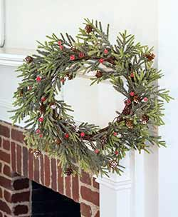 Mountain Pine 18 inch Wreath with Red Berries