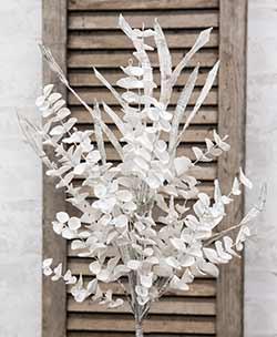 Winter White Sparkling Eucalyptus Pick