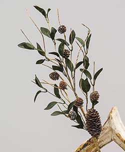 Silver Frosted Leaf & Pine Cone Pick