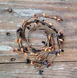 Black & Tea Stain Wispy Pip Berry Ring - 1.5 inch