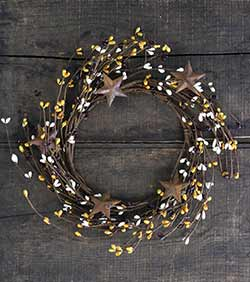 Mustard, Ivory, & Burgundy Pip Berry Candle Ring with Stars (6 inch)