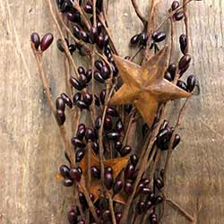 Burgundy Pip Berry Garland with Rusty Stars