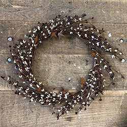 Burgundy & Cream Pip Berry Wreath with Rusty Stars (16 inch)