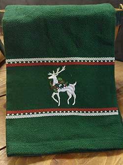 Reindeer Embroidered Dishtowel