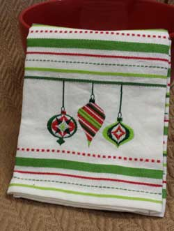 Ornaments Embroidered Dishtowel