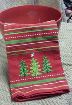 Trees Embroidered Dishtowel