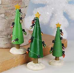 Christmas Trees with Lights (Set of 3)